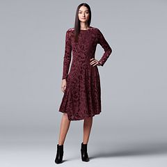Women's Simply Vera Vera Wang Flocked Velvet Dress