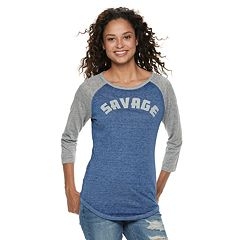 Juniors' 'Savage' Raglan Tee