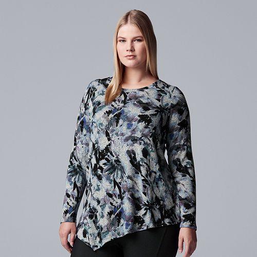 Plus Size Simply Vera Vera Wang Asymmetrical Top