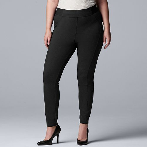 Plus Size Simply Vera Vera Wang Everyday Luxury Scuba High-Waisted Skinny Pants
