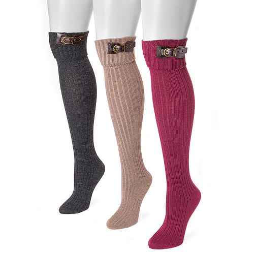 Women's MUK LUKS 3-Pack Buckle Cuff Over-the-Knee Socks