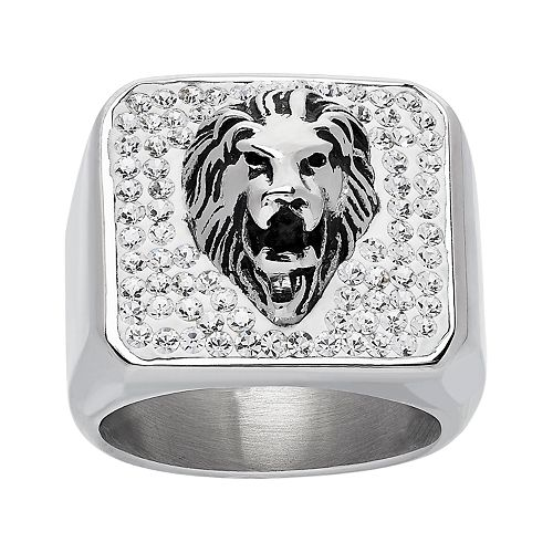 Stainless Steel Crystal Lion Ring