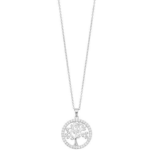 Brilliance Silver Tone Family Tree Pendant Necklace with Swarovski Crystals