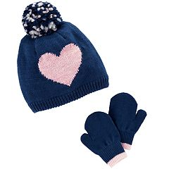 Baby / Toddler Girl Carter's Heart & Pom Hat & Mittens Set