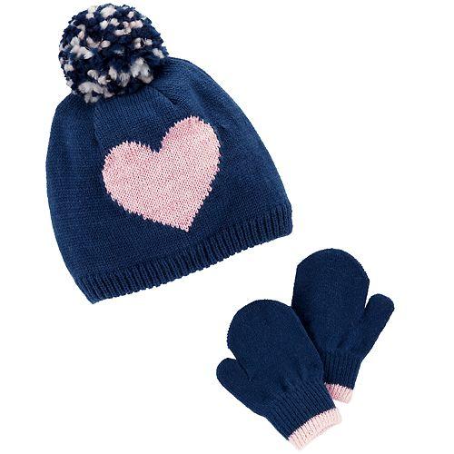 Baby / Toddler Girl Carter's Heart & Pom Hat & Mittens Set