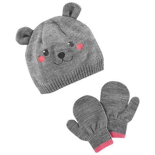 Baby / Toddler Girl Carter's Bear Hat & Mittens Set