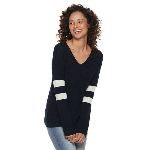 Juniors' Pink Republic Varsity Pullover Sweater