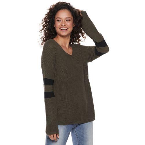 Juniors Pink Republic Varsity Pullover Sweater