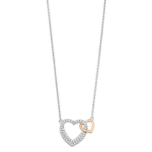 """Brilliance """"Mother Daughter"""" Two Tone Heart Necklace with Swarovski Crystals"""