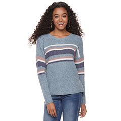 Juniors' Pink Republic Striped Pullover Sweater