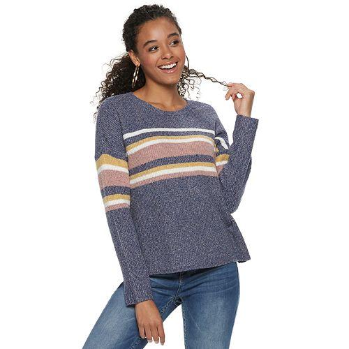 Juniors' Pink Republic Striped Pullover Sweater