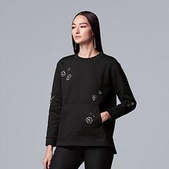 Women's Simply Vera Vera Wang Embellished-Floral Sweatshirt