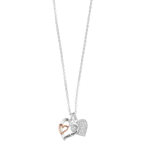 """Brilliance """"Friends Forever"""" Heart Charm Necklace with Swarovski Crystals"""
