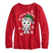 Girls 7-16 & Plus Size SO® Flip Sequin Christmas Graphic Fleece Sweatshirt