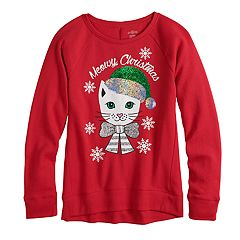 Girls 7-16 & Plus Size SO® Flip Sequin Christmas Graphic Fleece Sweatshirt