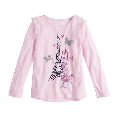 """Disney's Fancy Nancy Girls 4-10 Eiffel Tower """"Oh La La"""" Graphic Tee by Jumping Beans®"""