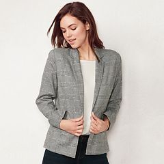 Women's LC Lauren Conrad Plaid Relaxed Open-Front Blazer