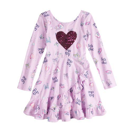 Disney S Fancy Nancy Girls 4 10 Sequin Heart Ruffle Dress By Jumping