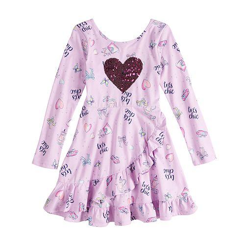 Disney's Fancy Nancy Girls 4-10 Sequin Heart Ruffle Dress by Jumping Beans®