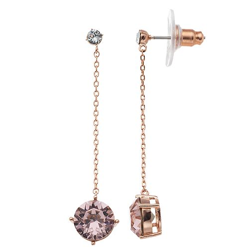 a0739e89c593 Brilliance Rose Gold Tone Pink Drop Earrings with Swarovski Crystals