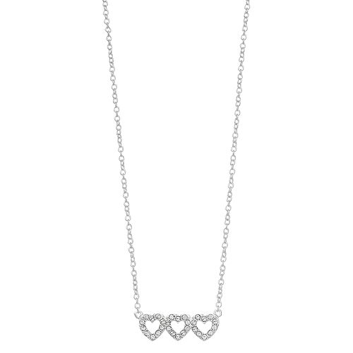 """Brilliance """"Daughter"""" Triple Heart Bar Necklace with Swarovski Crystals"""