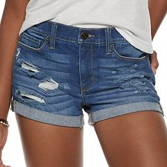Juniors' Mudd® Low Rise Denim Shortie Shorts