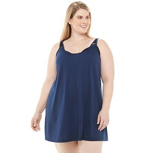 Plus Size Beach Scene Strappy Cover-Up Dress