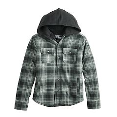 Boys 8-20 Urban Pipeline™ Sherpa-Lined Button-Down Plaid Hooded Shirt