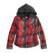Boys 8-20 Urban Pipeline? Sherpa-Lined Button-Down Plaid Hooded Shirt