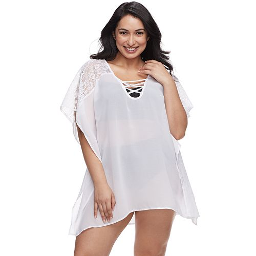 Plus Size Beach Scene Crisscross Lace Up Cover-Up