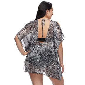 Plus Size Beach Scene Cold-Shoulder Cover-Up