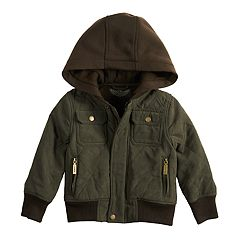 Baby Boy Urban Republic Hooded Microfiber Quilted Midweight Jacket