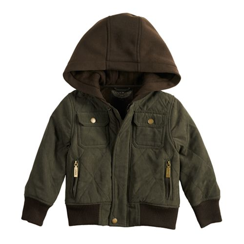 Toddler Boy Urban Republic Hooded Microfiber Quilted Midweight Jacket