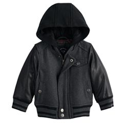 Toddler Boy Urban Republic Wool Varsity Hooded Midweight Jacket