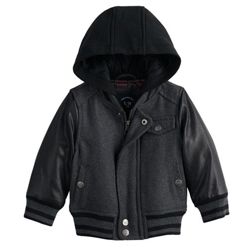 Toddler Boy Urban Republic Wool Varsity Hooded Midweight Jacket