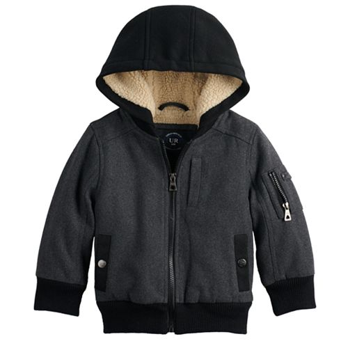Baby Boy Urban Republic Wool Bomber Hooded Midweight Jacket