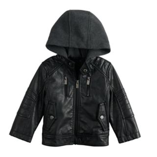 Baby Boy Urban Republic Faux-Leather Hooded Midweight Moto Jacket
