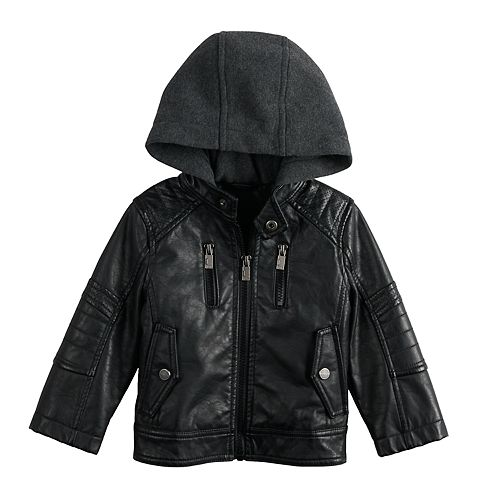 6a872768e2ae Baby Boy Urban Republic Faux-Leather Hooded Midweight Moto Jacket