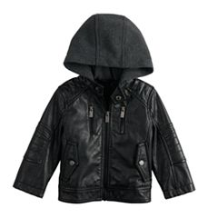 Toddler Boy Urban Republic Faux-Leather Hooded Midweight Moto Jacket