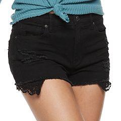 Juniors' Mudd® Destructed Crochet Pocket Jean Shorts