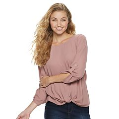 Juniors' Pink Republic Twist Front Woven Top