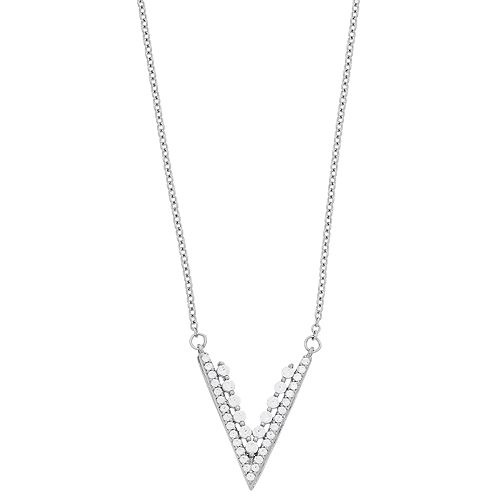 Simply Vera Vera Wang Sterling Silver 1/3 Carat T.W. Diamond V Necklace