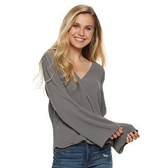 Juniors' Grayson Threads Wrap Front Woven Top