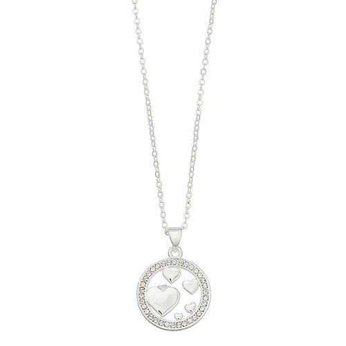 Brilliance Circle Heart Necklace with Swarovski Crystals