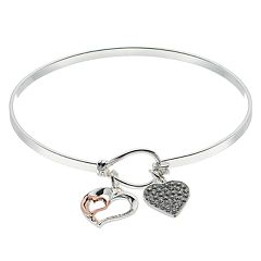 Brilliance Two-Tone Friendship Charm Bangle Bracelet with Swarovski Crystals