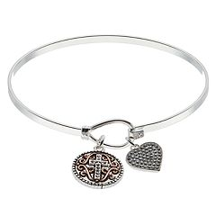Brilliance Heart Cross Charm Bangle Bracelet with Swarovski Crystals