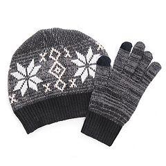 Women's MUK LUKS Knit Beanie & Gloves Set