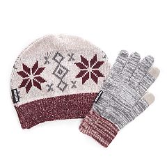 Women's MUK LUKS Knit Beanie & Gloves Set