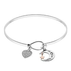 Brilliance Moon & Heart Charm Bangle Bracelet with Swarovski Crystals