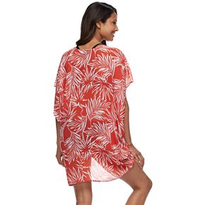 Women's Beach Scene Tie-Front Cocoon Cover-Up